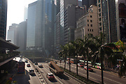 Morning traffic in Central district.  7 million people live on 1,104km square, making it Hong Kong the most vertical city in the world.