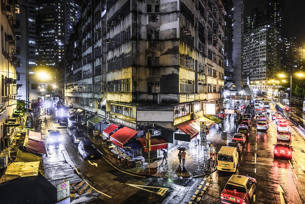 Rainy night on the streets of Hong Kong