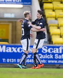 Falkirk's Craig Sibbald celebrates after scoring their goal with Falkirk's Connor McGrandles. <br /> Livingston 1 v 1 Falkirk, Scottish Championship game at The Tony Macaroni Arena at 23/1/2016.