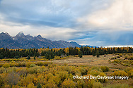 67545-09611 Fall color and Grand Teton Mountain Range from Blacktail Falls Overlook, Grand Teton National Park, WY
