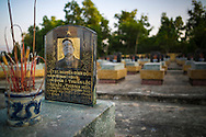 Detail of tomb in the military cemetary of Doc Lap Hill 'Gabrielle,' the resting place of an estimated 2432 Vietnamese soldiers, Muong Thanh Valley, Dien Bien Province, Vietnam, Southeast Asia