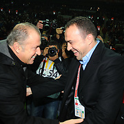 Galatasaray's coach Fatih Terim (L) and IBBSpor's coach Arif Erdem (R) during their Turkish Super League soccer match Galatasaray between IBBSpor at the TT Arena at Seyrantepe in Istanbul Turkey on Tuesday, 03 January 2012. Photo by TURKPIX