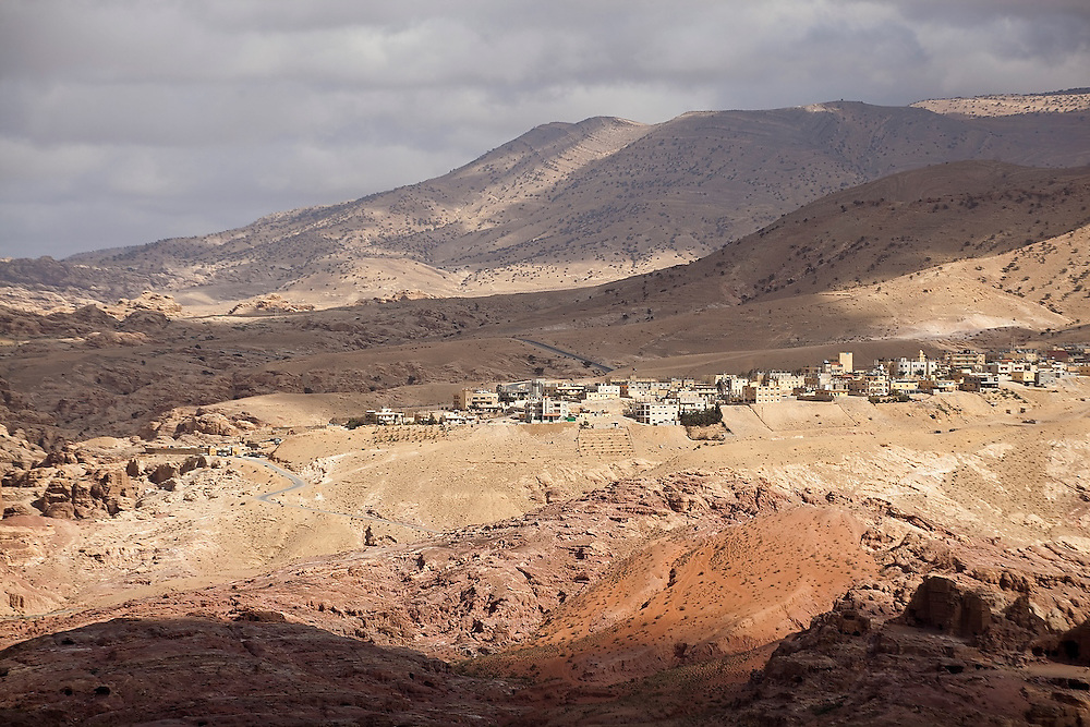View of the bedouin village of Umm Sayhoun from the cliffs of Petra, Jordan.