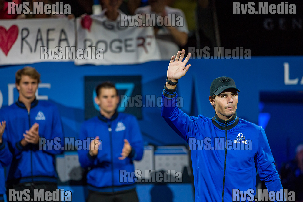 GENEVA, SWITZERLAND - SEPTEMBER 22: Rafael Nadal of Team Europe enters the Centre Court during Day 3 of the Laver Cup 2019 at Palexpo on September 20, 2019 in Geneva, Switzerland. The Laver Cup will see six players from the rest of the World competing against their counterparts from Europe. Team World is captained by John McEnroe and Team Europe is captained by Bjorn Borg. The tournament runs from September 20-22. (Photo by Robert Hradil/RvS.Media)