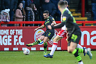 Forest Green Rovers Liam Shephard(2) passes the ball forward during the EFL Sky Bet League 2 match between Stevenage and Forest Green Rovers at the Lamex Stadium, Stevenage, England on 26 December 2019.