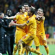Galatasaray's Johan ELMANDER (C) celebrate his goal with team mate during their Turkish Super League soccer match Galatasaray between Bursaspor at the TT Arena at Seyrantepe in Istanbul Turkey on Sunday 16 October 2011. Photo by TURKPIX