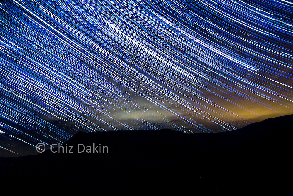Starstacked trail over Slight Side (Scafell) from Esk Pike