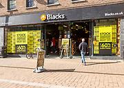 Stock liquidation everything must go store sale, Blacks shop in Newbury, Berkshire, England, UK