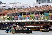 Singapore. Singapore River Cruise. A garbage barge.