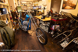 Masa Sugihara's Luck Motorcycles shop in Kyoto where he specializes in long and skinny Harley-Davidson choppers. Japan. Thursday, December 6, 2018. Photography ©2018 Michael Lichter.