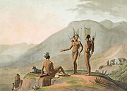 THE BOSJESMEN [Bushmen] HOTTENTOTS armed for an expedition. hand colored plate from the collection of  ' African scenery and animals ' by Daniell, Samuel, 1775-1811 and Daniell, William, 1769-1837 published 1804