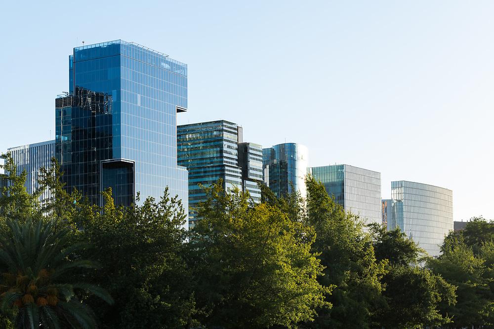 Skyline of office buildings at Nueva Las Condes, Las Condes district, Santiago de Chile