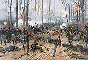 The Battle of Shiloh by Thure de Thulstrup (also known as the Battle of Pittsburg Landing) was an early battle in the Western Theater of the American Civil War, fought April 6–7, 1862, in southwestern Tennessee. The Union Army of the Tennessee (Major General Ulysses S. Grant) had moved via the Tennessee River deep into Tennessee and was encamped principally at Pittsburg Landing on the west bank of the Tennessee River, where the Confederate Army of Mississippi (General Albert Sidney Johnston, P. G. T. Beauregard second-in-command) launched a surprise attack on Grant's army from its base in Corinth, Mississippi.