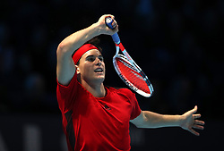 Dominic Thiem in action against Grigor Dimitrov during day two of the NITTO ATP World Tour Finals at the O2 Arena, London.