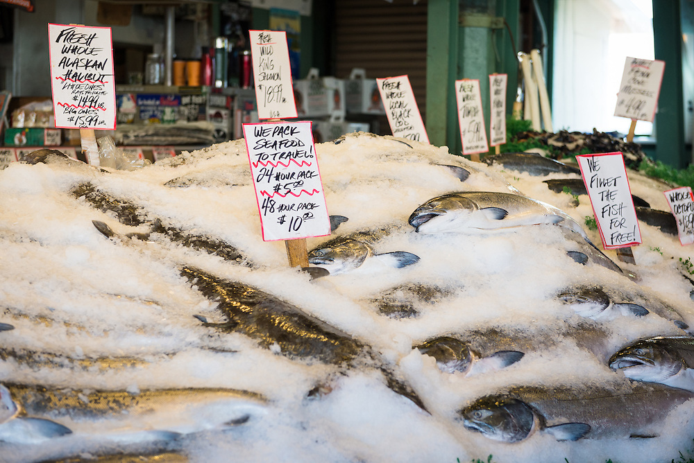 Fresh fish on display at Pike Place Market, Seattle