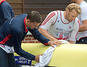 Caversham, Nr Reading, Berkshire. GBR M8+ left Pete REED and  Andy TRIGGS HODGE, wipe the boat down.<br /> <br /> GBRowing Media Day.<br /> <br /> Wednesday  11.05.2016<br /> <br /> [Mandatory Credit: Peter SPURRIER/Intersport Images]