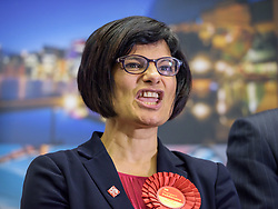 © Licensed to London News Pictures.  08/06/2017; Bristol, UK. General Election 2017; THANGAM DEBBONAIRE is returned in Bristol West for Labour at City of Bristol Academy. Picture credit : Simon Chapman/LNP
