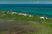 San Perdo Aerial view<br /> Ambergris Caye<br /> Belize,<br /> Central America