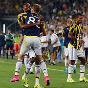 Fenerbahce's Ba (L) and Caner Erkin (C) during their UEFA Europa league Play-Offs Second Leg soccer match Fenerbahce between Atromitos at the Sukru Saracaoglu stadium in Istanbul Turkey on Thursday 27 August 2015. Photo by Aykut AKICI/TURKPIX
