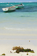 Mauritius Island. Fishing boats anchored in lagoon with a fisherman
