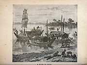 A River of India from The merchant vessel : a sailor boy's voyages to see the world [around the world] by Nordhoff, Charles, 1830-1901 engraved by C. LaPlante; some illustrations by W.L. Wyllie Publisher New York : Dodd, Mead & Co. 1884