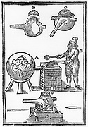 Distillation of oil of vitriol also known as sulphuric acid, 1651. Iron retort with cover, detail at C,D, is placed in furnace and connected to receiver at A. At B the operator is removing pot lid with tongs and inserting ingredients with a ladle.  This process entailed prolonged heating.  At E is a pot placed directly on the fire rather than in furnace. From 'A Description of New Philosophical Furnaces', by Johann Rudolph Glauber. (London 1651). First English edition, translated by John French. Woodcut.