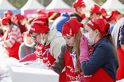 November 2, 2018 - Seoul, SOUTH KOREA - Nov 02, 2018-South Korea, Seoul-Volunteers take part in a make kimchi, a staple Korean side dish made of fermented vegetables, to donate to needy neighbors in preparation for the winter season during the Seoul Kimchi Festival at Seoul Plaza in Seoul, South Korea. Thousands of people will make kimchi with 165 tons of cabbage during the festival which is held from Nov. 2 until Nov. 4. (Credit Image: © Ryu Seung-Il/ZUMA Wire)
