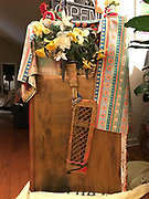 Podium/Pulpit from The Bus- iconic- hand made by Preacher- decorated with plastic flowers, hair ties items, front art work and is 47x26x20 deep<br />