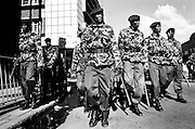 NAIROBI, KENYA - DECEMBER 31, 2007: Soldiers from the General Service Unit prepare to forcibly remove Orange Democratic Movement protesters from the city center. A surge in violence left scores of people dead in Nairobi as defeated presidential candidate Raila Odinga prepared to declare himself head of state, after rejecting the victory of incumbent president Mwai Kibaki.