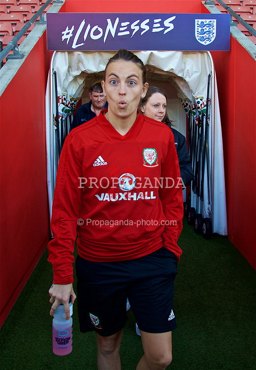 SOUTHAMPTON, ENGLAND - Thursday, April 5, 2018: Wales' Kayleigh Green during a training session at St. Mary's Stadium ahead of the FIFA Women's World Cup 2019 Qualifying Round Group 1 match against England. (Pic by David Rawcliffe/Propaganda)