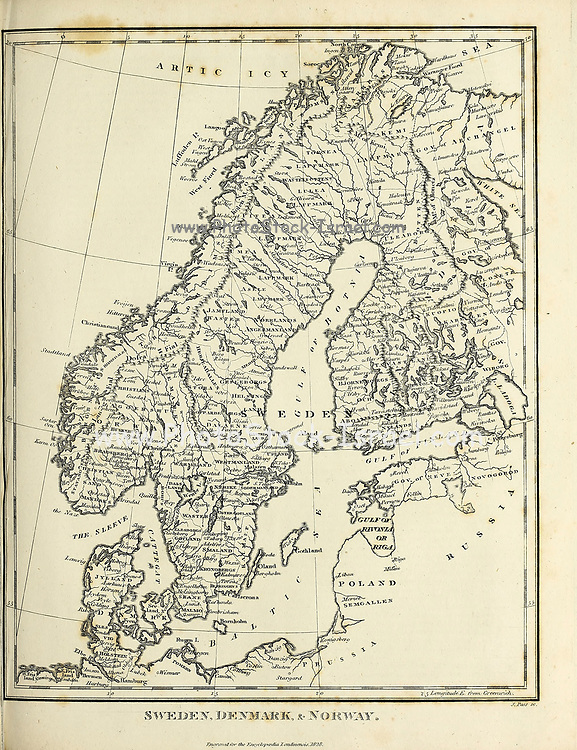 Ancient map of Scandinavia with Sweden, Denmark and Norway Copperplate engraving From the Encyclopaedia Londinensis or, Universal dictionary of arts, sciences, and literature; Volume XXIII;  Edited by Wilkes, John. Published in London in 1828