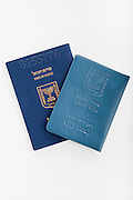 Cutout of an Israeli Identification card and Passport on white background