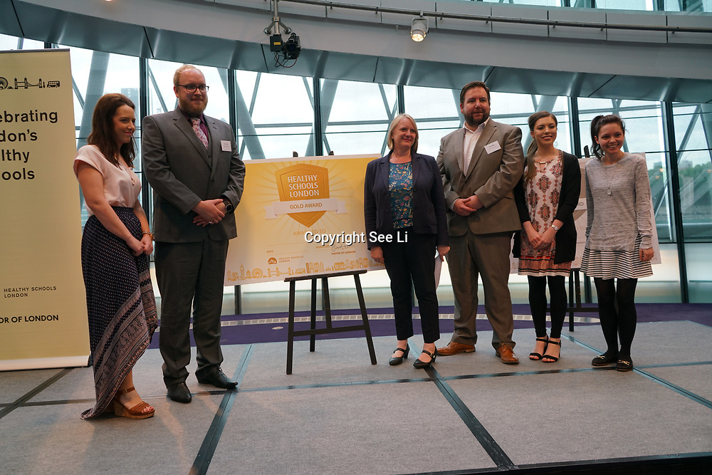 """City Hall, London, Uk, 29th June 2017. Valence Primary School, Godwin , Manor Infant School """"Gold Awards"""" of the City Hall awards at the Health and education experts celebrate London's healthiest schools."""