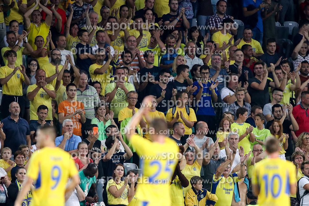 Fans of NK Domzale after football match between NK Domzale and Olympique de Marseille in First game of UEFA Europa League playoff round, on August 17, 2017 in SRC Stozice, Ljubljana, Slovenia. Photo by Morgan Kristan / Sportida