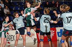 Ana Gros of Olimpija between Nastja Praprotnik (5) and Vesna Pus (29) at handball game ZRK Mercator Tenzor Ptuj vs RK Olimpija PLK in match for the third place of Slovenian Handball Cup,  on April 6, 2008 in Arena Golovec, Celje, Slovenia. Ptuj won the game 32:22 and placed third.  (Photo by Vid Ponikvar / Sportal Images)