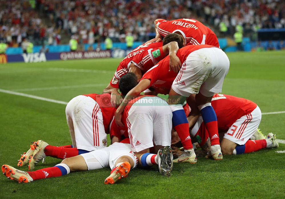 SOCHI, July 7, 2018  Players of Russia celebrate Denis Cheryshev's goal during the 2018 FIFA World Cup quarter-final match between Russia and Croatia in Sochi, Russia, July 7, 2018. (Credit Image: © Wu Zhuang/Xinhua via ZUMA Wire)
