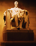 Marble statue of Abraham Lincoln, 16th President of the United States, Lincoln Memorial, Washington, District of Columbia.