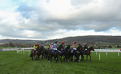 Runners gather for the start of the Pertemps Network Handicap hurdle during day two of the Showcase at Cheltenham Racecourse