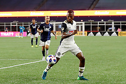 August 11, 2018 - Foxborough, MA, U.S. - FOXBOROUGH, MA - AUGUST 11: Philadelphia Union midfielder Fafa Picault (9) tracks the ball down during an MLS match between the New England Revolution and the Philadelphia Union on August 11, 2018, at Gillette Stadium in Foxborough, Massachusetts. The Union defeated the Revolution 3-2. (Photo by Fred Kfoury III/Icon Sportswire) (Credit Image: © Fred Kfoury Iii/Icon SMI via ZUMA Press)