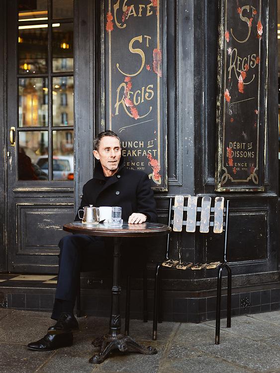 Martin Grant, fashion designer, having a tea at the Cafe Saint-Regis. Paris, France. January 3, 2019. <br /> Martin Grant, designer de mode, pose dans son showroom. Paris, France. 3 janvier 2019.