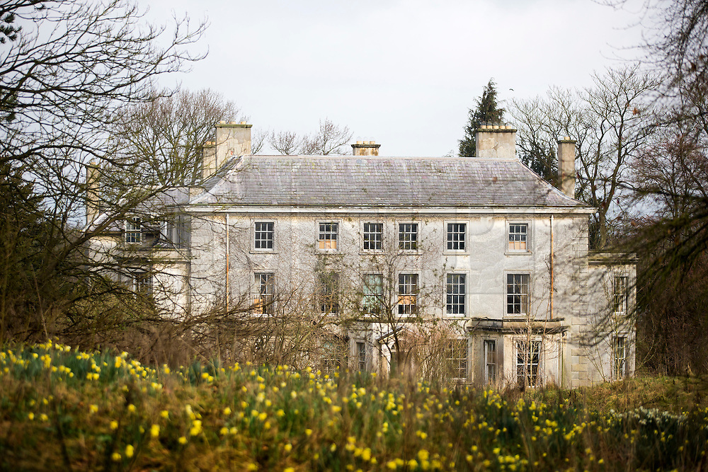 © Licensed to London News Pictures. 03/04/2016. West Heslerton UK. Picture shows West Heslerton hall which hasn't been lived in for 30 years. The quintessential Yorkshire village of West Heslerton is up for sale at a price of £20M. The estate has a 21 bedroom historic hall, 43 houses, a pub, garage, church & playing fields. Former owner Miss Eve Dawnay died five years ago & she left a perfectly preserved village that has been untouched for 50 years. Her family are now selling the estate & hopefull of finding a buyer who will share Miss Dawnay's wish to conserve a bucolic way of life. Photo credit: Andrew McCaren/LNP