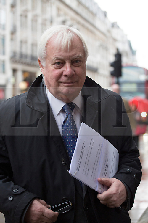 © licensed to London News Pictures. London, UK 26/11/2012. Lord Chris Patten arrives to The Geological Society in London to address the annual conference of the Voice of the Listener and Viewer. Photo credit: Tolga Akmen/LNP
