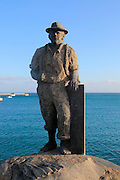 'Pescador de Viejas' sculpture by Juan Miguel Cubas Sanchez, 2003, Puerto del Rosario, Fuerteventura, Canary Islands, Spain