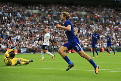 20 August 2017 -  Premier League - Tottenham Hotspur v Chelsea - Marcos Alonso of Chelsea celebrates scoring his 2nd goal infant of a dejected Tottenham Hotspur goalkeeper Hugo Lloris - Photo: Marc Atkins/Offside