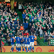 DUBLIN, IRELAND:  October 12:  Callum Robinson #7 of the Republic of Ireland celebrates with the fans and team mates after scoring his second goal of the match from the penalty spot  during the Republic of Ireland V Qatar International friendly match at Aviva Stadium on October 12th, 2021 in Dublin, Ireland. (Photo by Tim Clayton/Corbis via Getty Images)