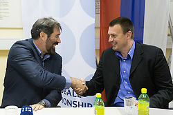 Veselin Vujovic and his assistant Uros Serbec after voting of RZS - Handball federation of Slovenia for a new head coach of Slovenian National Handball Men Team, on May 27, 2015 in RZS, Ljubljana, Slovenia. Photo by Vid Ponikvar / Sportida