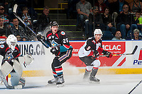 KELOWNA, CANADA - SEPTEMBER 28: Cal Foote #25 of Kelowna Rockets looks for the pass to Brad Morrison #9 of the Prince George Cougars on September 28, 2016 at Prospera Place in Kelowna, British Columbia, Canada.  (Photo by Marissa Baecker/Shoot the Breeze)  *** Local Caption *** Cal Foote; Brad Morrison;