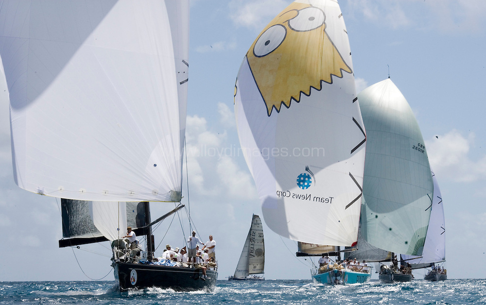 The Stanford Antigua Race Week 2007.The 40th Antigua sailing week.29th April - 5th May 2007. Antigua..Picture shows: The Pindar/Alphagraphics Volvo 60 racing, helmed by ISAF world No 1 Ian Williams with Brian Thompson navigating and calling tackticks.. .Please credit all pictures: Lloyd Images..For further details contact Mark Lloyd .e:hello@lloydimages.com.t:+44 7970 798 011