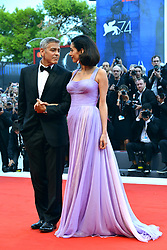 "74th Venice Film Festival, Red Carpet ""Suburbicon"". George Clooney, Amal Clooney, Matt Damon, Julianne Moore. 02 Sep 2017 Pictured: George Clooney, Amal Clooney. Photo credit: KILPIN / MEGA TheMegaAgency.com +1 888 505 6342"