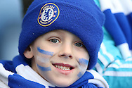 a Young Chelsea fan looks on before k/o. Barclays Premier league match, Chelsea v Stoke city at Stamford Bridge in London on Saturday 5th March 2016.<br /> pic by John Patrick Fletcher, Andrew Orchard sports photography.